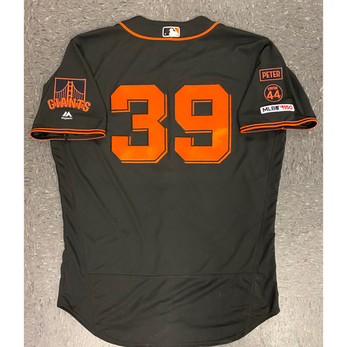 Photo of 2019 Game Used Jersey - Fiesta Gigantes Black Home Alternate Jersey - used by #39 Rick Schu (Coach) on 9/14 vs MIA - Size 48