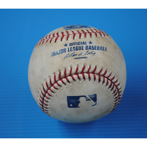Photo of Game-Used Opening Day Baseball - Astros @ Mariners - Batter - Kendrys Morales, Pitcher - Rhiner Cruz - Bottom of 8 - Wild Pitch - 4/8/13