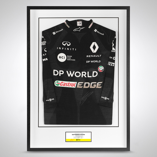 Photo of Esteban Ocon 2020 Framed Signed Race-worn Nomex - Russian Grand Prix