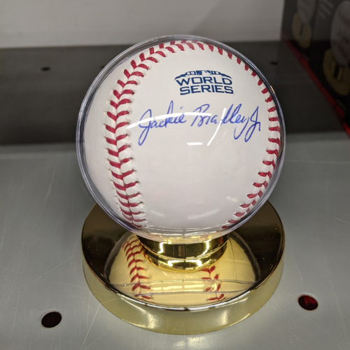 Photo of Jackie Bradley Jr. Autographed 2018 World Series Baseball