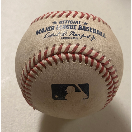 Photo of 2020 Game-Used Baseball used on 9/21 vs. Colorado Rockies - T-3: Johnny Cueto to Kevin Pillar - Home Run to LF - HR #6 of 2020
