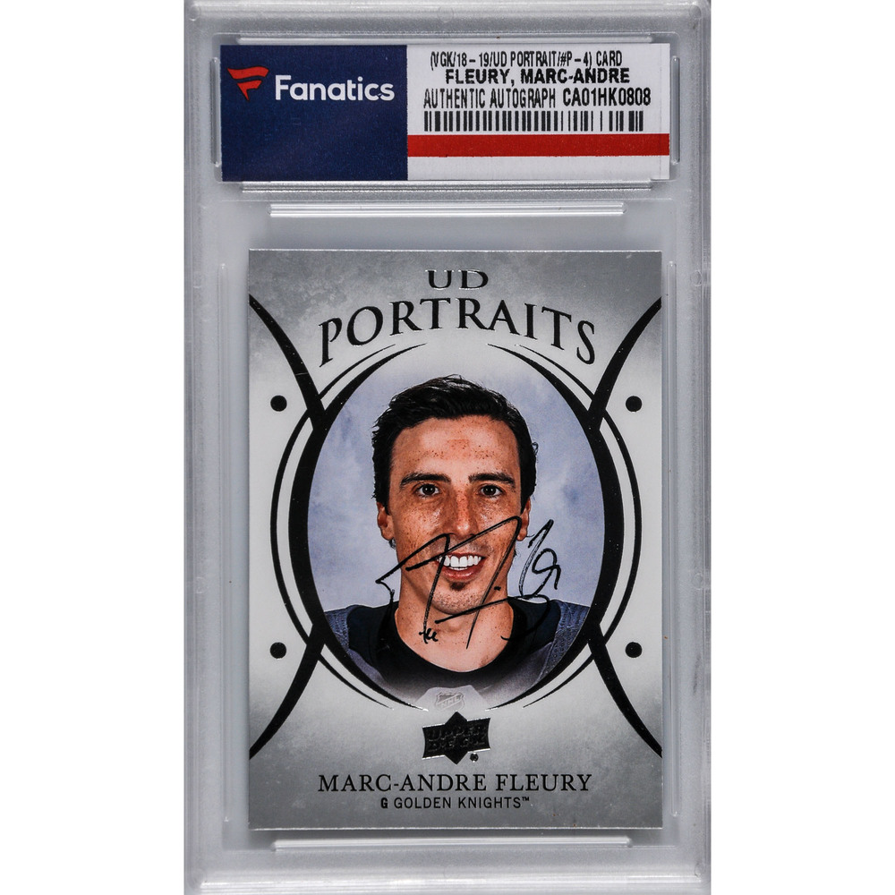Marc-Andre Fleury Vegas Golden Knights Autographed 2018-19 Upper Deck Series One Hockey UD Portraits #P-4 Card