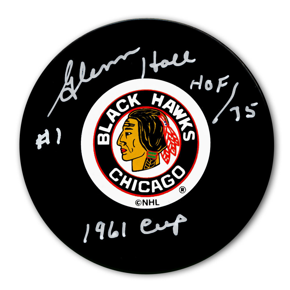 Glenn Hall Chicago Blackhawks 1961 Cup Autographed Puck