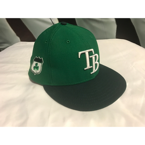 St. Patrick's Day Game Used Hat: Kevin Kiermaier