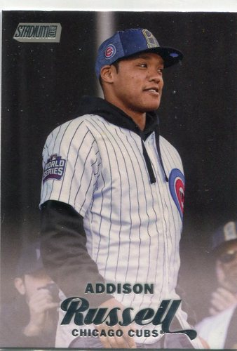 Photo of 2017 Stadium Club #165B Addison Russell short print/World Series hat