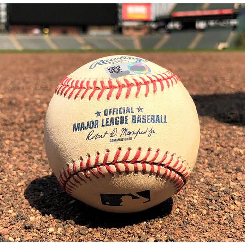 Photo of Colorado Rockies Game-Used Baseball - Chatwood v. J.D. Martinez - RBI Single - 9-2-17