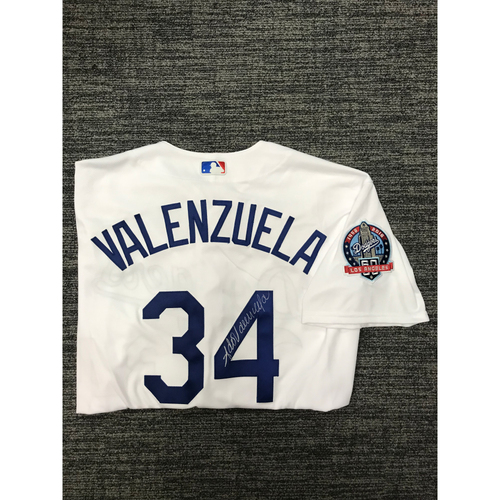 Photo of LADF Blue Diamond Gala Auction: Fernando Valenzuela Authentic Autographed Jersey (Size 48) - Worn during Dodgers 2018 Alumni Game