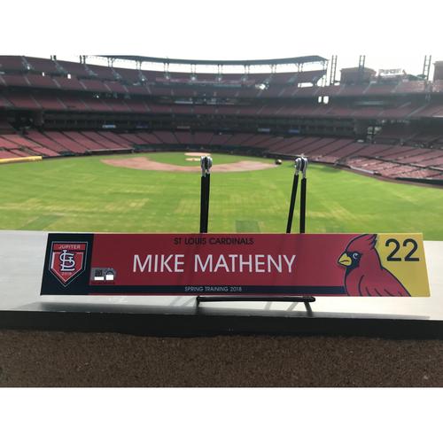 Photo of Cardinals Authentics: Mike Matheny Game Used 2018 Spring Training Locker Tag
