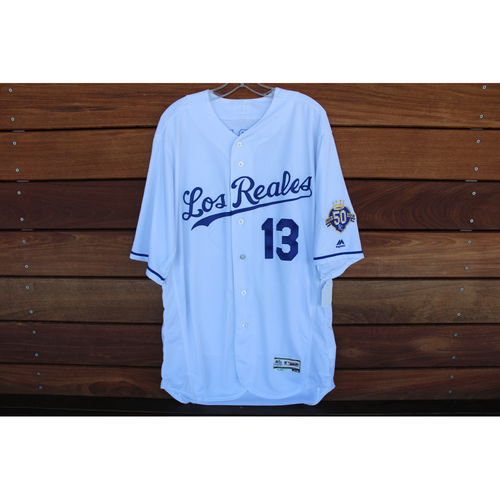 Photo of Game-Used Los Reales Jersey: Salvador Perez (Size 48 - BAL @ KC - 9/1 /18)