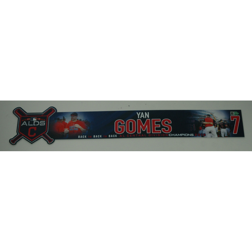 Photo of Yan Gomes Game-Used 2018 ALDS Locker Name Plate - Game 3 - 10/8/18
