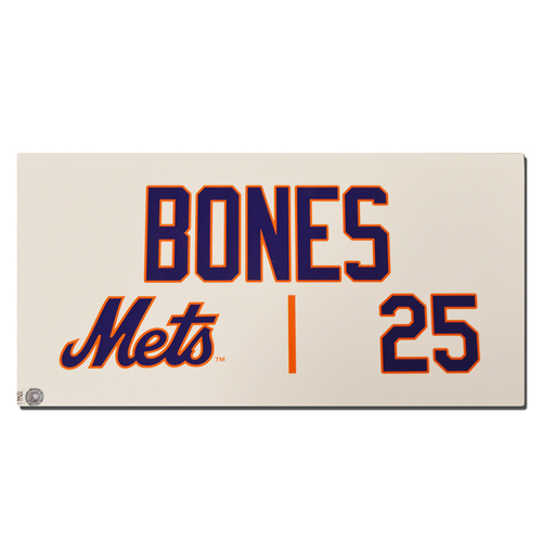 Ricky Bones #25 - Game Used Locker Nameplate - Mets vs. Marlins - 9/30/18