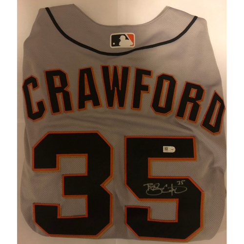 Photo of Brandon Crawford Autographed Grey Giants Jersey
