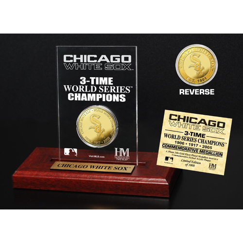 Photo of Chicago White Sox 3-Time World Series Champions Gold Coin Etched Acrylic