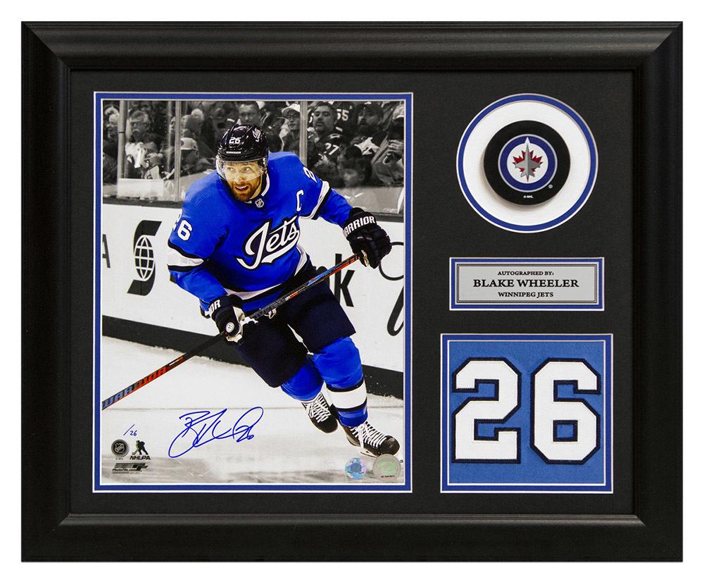 Blake Wheeler Winnipeg Jets Autographed Aviator Jersey Number 19x23 Frame LE/#26