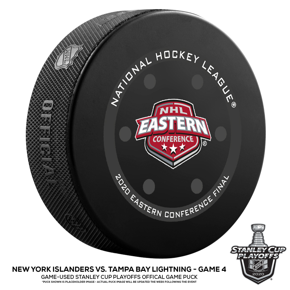 New York Islanders vs. Tampa Bay Lightning Game-Used Puck from Game 4 of the 2020 Eastern Conference Final on September 13, 2020