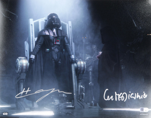 Hayden Christensen as Anakin Skywalker and Ian McDiarmid as Darth Sidious 11x14 Dual Autographed in Sliver Ink Photo