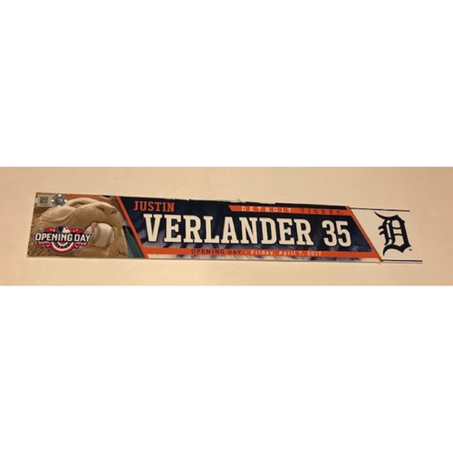 Game-Used Justin Verlander 2017 Opening Day Locker Name Plate