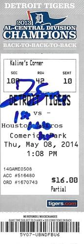 "Photo of George Springer ""1st MLB HR"" Autographed Game Ticket"