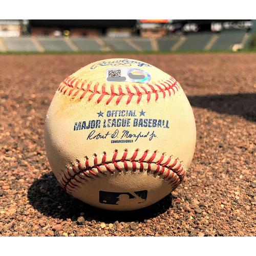 Photo of Colorado Rockies Game-Used Baseball - Dunn v. Lamb - RBI Single - 9-1-17