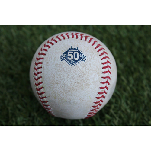 Photo of Game-Used Baseball: Erik Gonzalez 56th Career Hit (CLE at KC - 7/3/18)