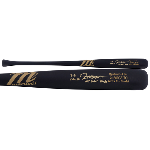 Photo of Giancarlo Stanton New York Yankees Autographed Marucci Game Model Bat with Multiple Inscriptions - L. E. of 27