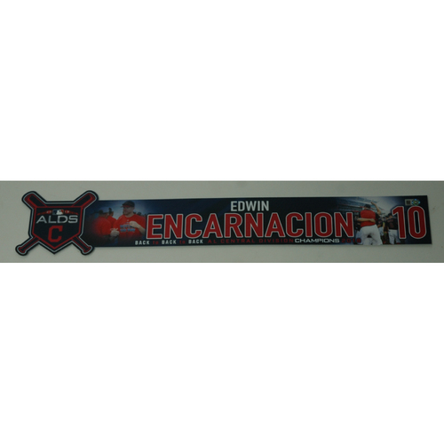Photo of Edwin Encarnacion Game-Used 2018 ALDS Locker Name Plate - Game 3 - 10/8/18