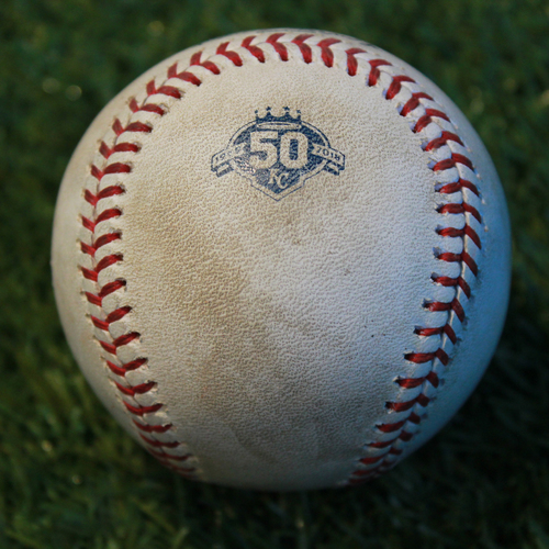 Photo of Game-Used Baseball: Nomar Mazara 350th Career Hit (TEX @ KC - 6/19/18)