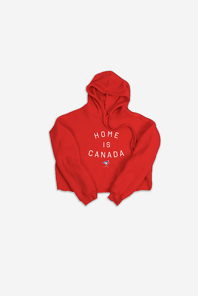 Toronto Blue Jays Women's Red Home is Canada Cropped Hoodie by Peace Collective