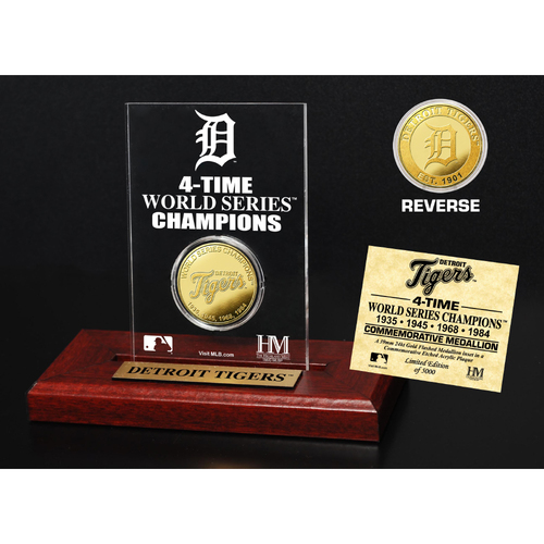 Photo of Detroit Tigers Gold Mint Coin Acrylic Desk Top Display