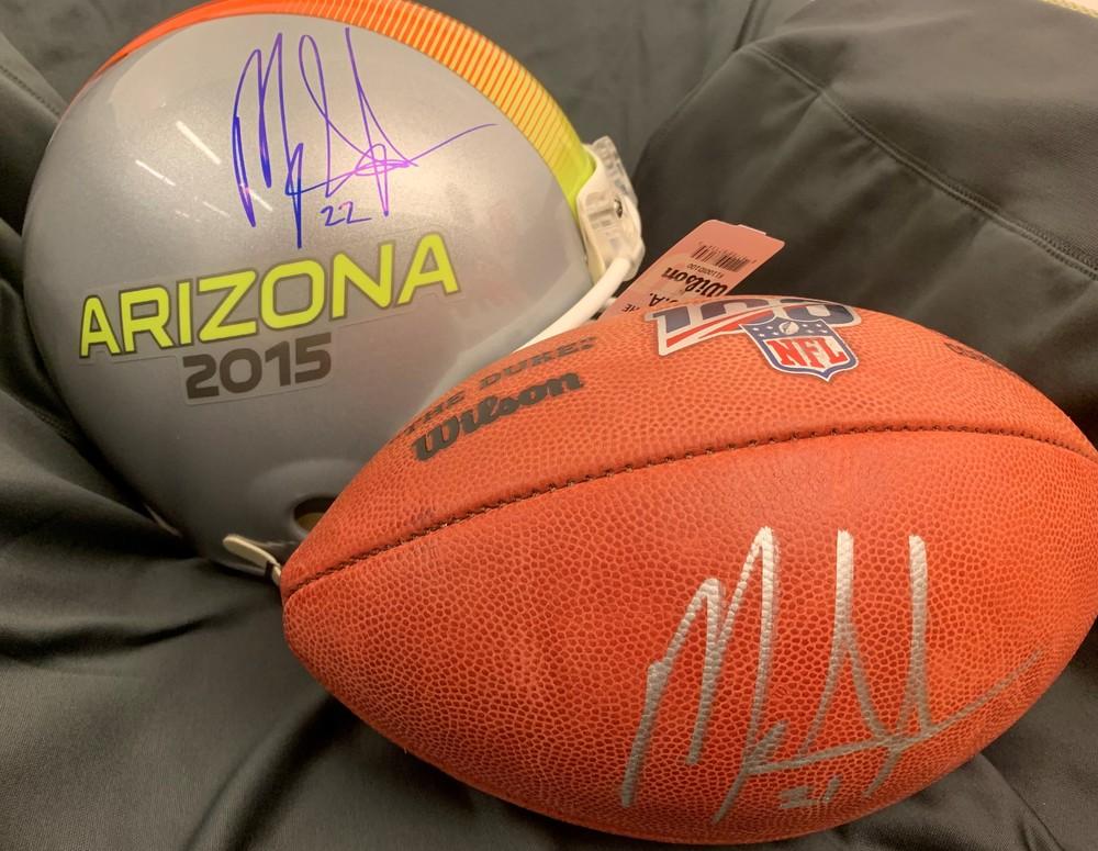 PCC - Mark Ingram signed NFL 100 Football + Mark Ingram signed 2015 Pro Bowl Helmet