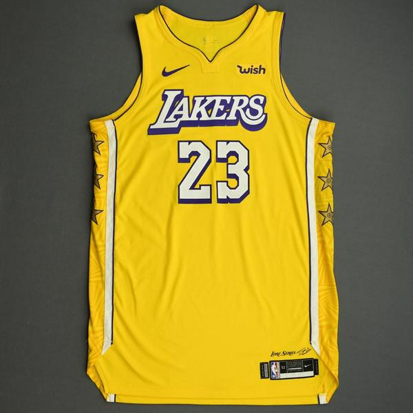 Image of LeBron James - Los Angeles Lakers - Christmas Day' 19 - Game-Worn City Edition Jersey - Double-Double - 14th Christmas Day Game