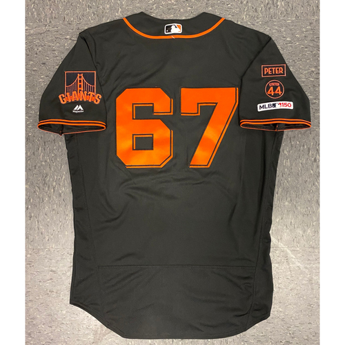 Photo of 2019 Game Used Jersey - Fiesta Gigantes Black Home Alternate Jersey - used by #67 Sam Selman on 9/14 vs MIA - Size 44