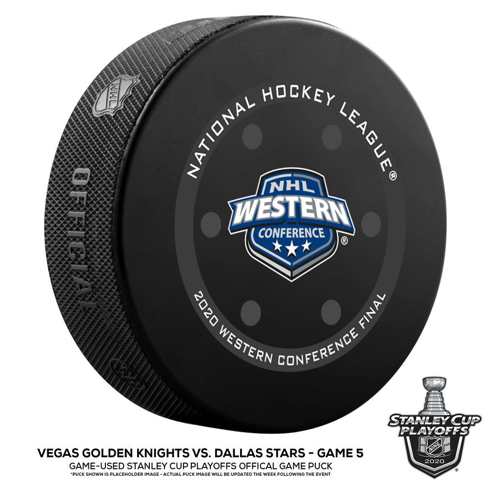 Vegas Golden Knights vs. Dallas Stars Game-Used Puck from Game 5 of the 2020 Western Conference Final on September 14, 2020