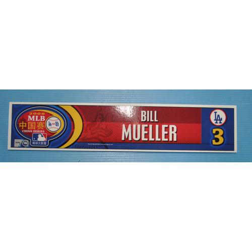 Photo of Game-Used Locker Tag - 2008 MLB China Series - Dodgers Locker Tag - Bill Mueller
