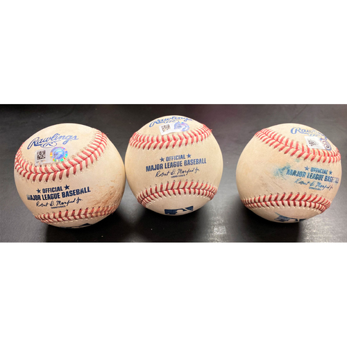 Photo of Game-Used Baseball Collection:  Pitches thrown to New York Yankees Giancarlo Stanton, DJ LeMahieu, and Aaron Judge (MLB AUTHENTICATED)