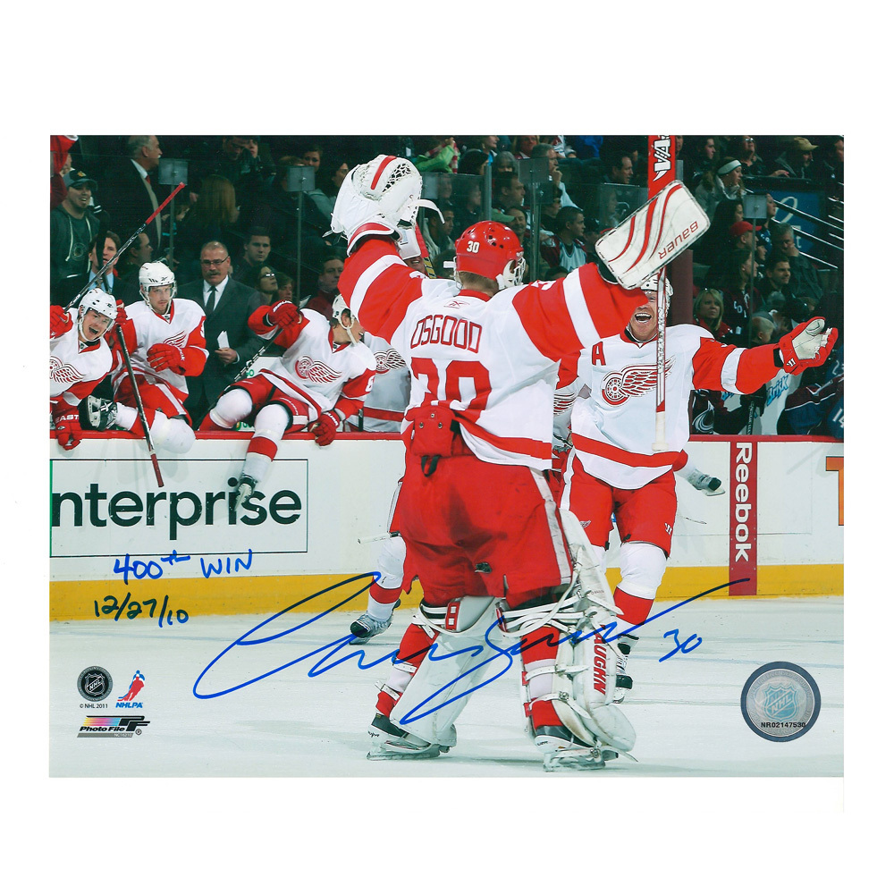 CHRIS OSGOOD Signed/Inscribed Detroit Red Wings 400 Wins 8 X 10 Photo - 70408