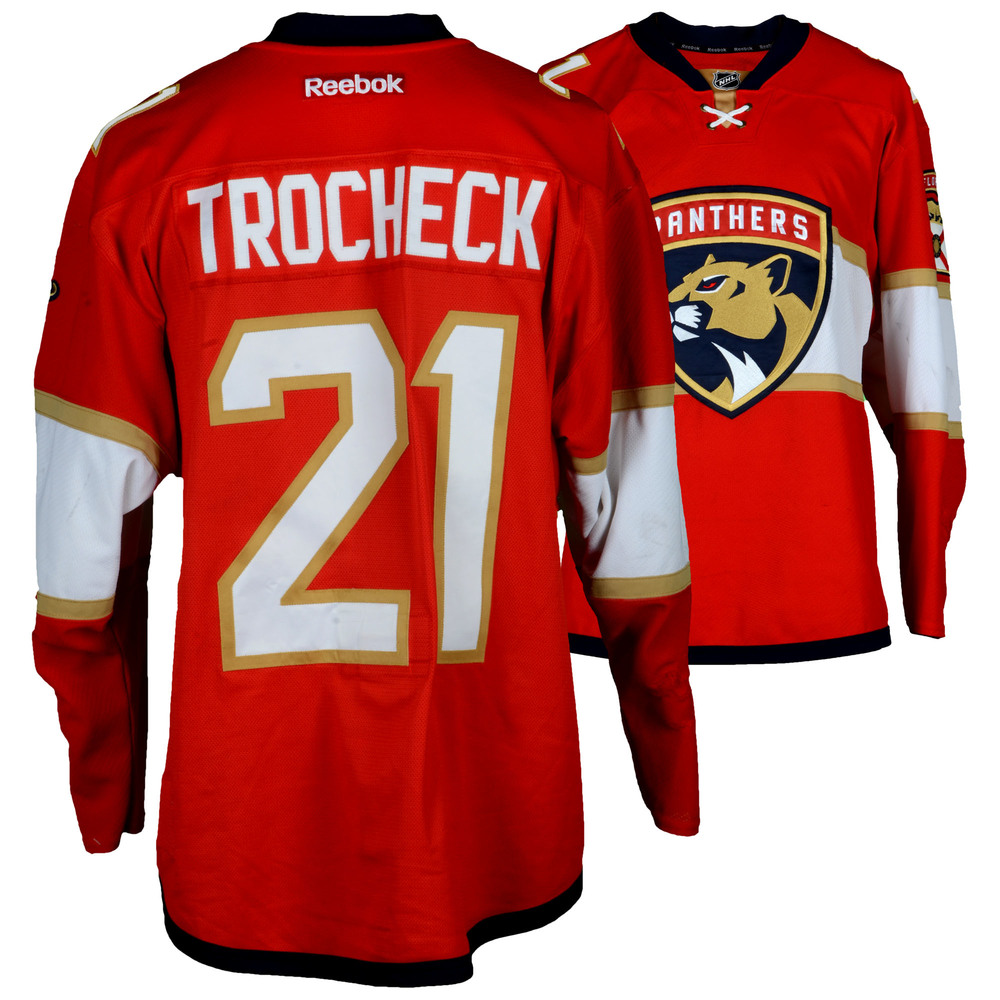 Vincent Trocheck Florida Panthers Game-Used #21 Red Set 1 Jersey From The 2016-17 NHL Season - Size 54