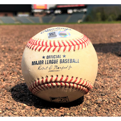 Photo of Colorado Rockies Game-Used Baseball - Bettis v. Myers - Double - 4-23-18