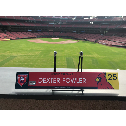 Photo of Cardinals Authentics: Dexter Fowler Game Used 2018 Spring Training Locker Tag