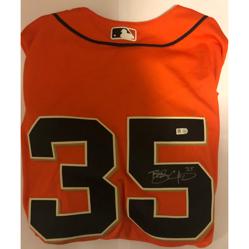 Photo of Brandon Crawford Autographed Orange Giants Jersey