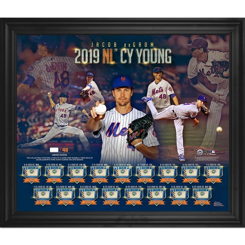 Photo of Jacob deGrom Limited Edition 2019 NL Cy Young Game-Used Baseball Plaque