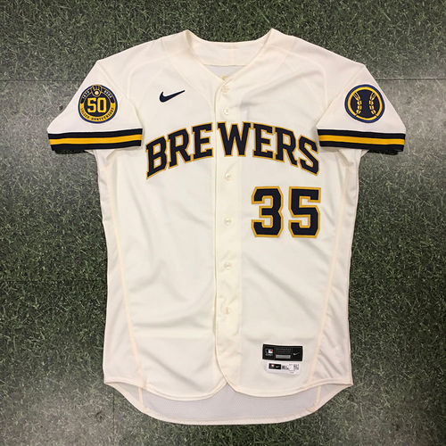 Photo of Brent Suter 08/03/20 Game-Used Home Opener Jersey
