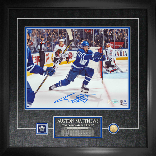 11x14 Auston Matthews Signed Celebration Photo w/ Coin and Stamp Framed