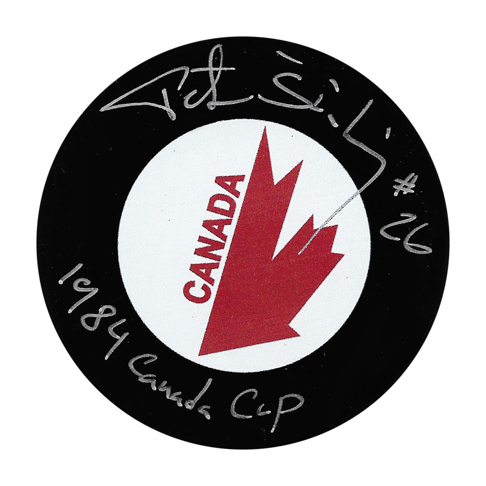 Peter Stastny Autographed Team Canada Puck w/1984 CANADA CUP Inscription