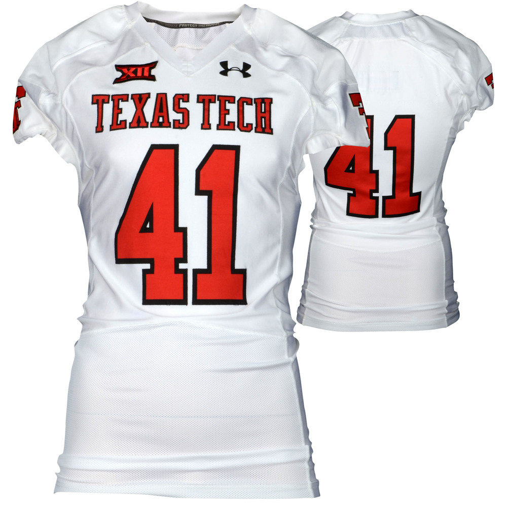Texas Tech Red Raiders Game-Used White #41 Jersey Used During Victories Against Arkansas and Texas during the 2015 Season - Size 44