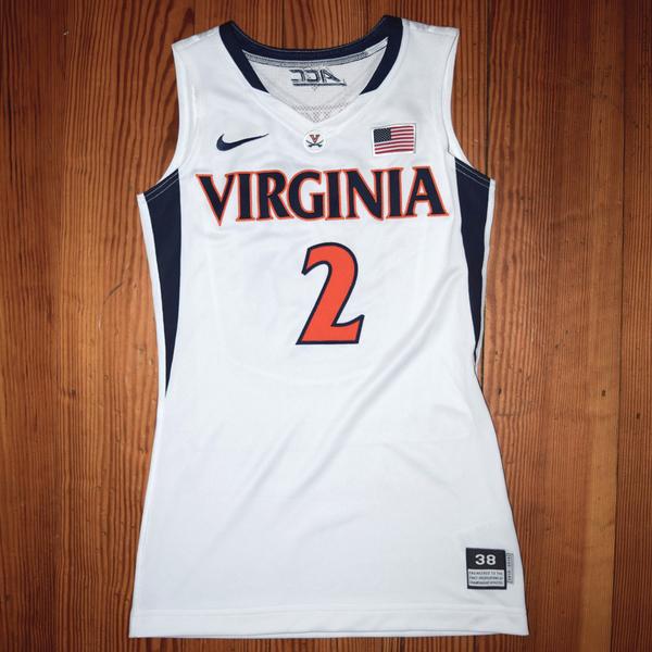 Photo of Game-Worn University of Virginia Men's Basketball Jersey: White #2