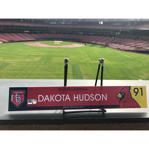 Photo of Cardinals Authentics: Dakota Hudson Game Used 2018 Spring Training Locker Tag
