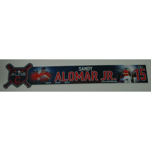Photo of Sandy Alomar Jr. Game-Used 2018 ALDS Locker Name Plate - Game 3 - 10/8/18