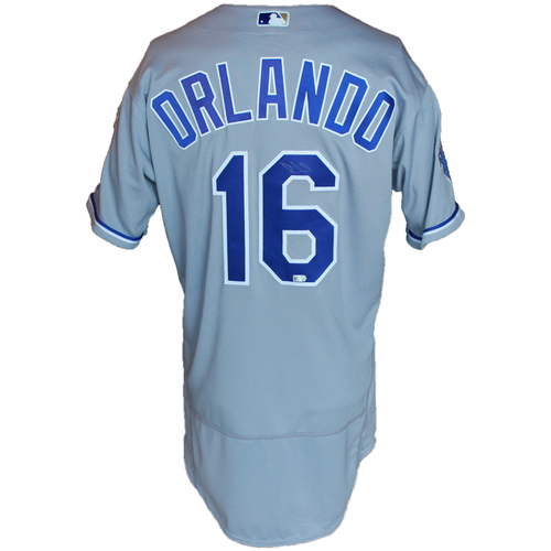 Photo of Autographed Gray World Series Jersey: Paulo Orlando