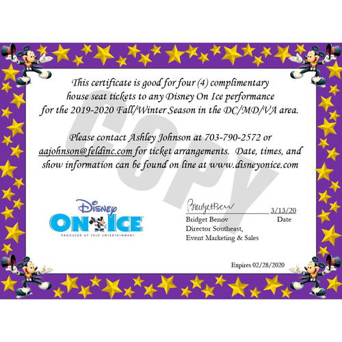 Photo of UMPS CARE AUCTION: Disney On Ice Package for DC/MD/VA